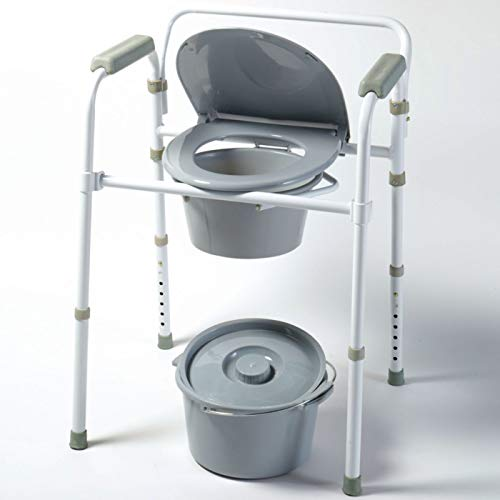 Homecraft Steel Commode, Portable Toilet, Metal Toilet Bowl and Bucket for Bedside Bathroom Use
