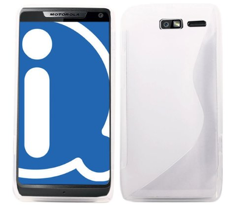 Motorola XT907 DROID RAZR M Clear Transparent Wave Pattern Flexible & Durable Soft TPU Gel Skin Case Protective Jelly Cover For Motorola XT907 DROID RAZR M