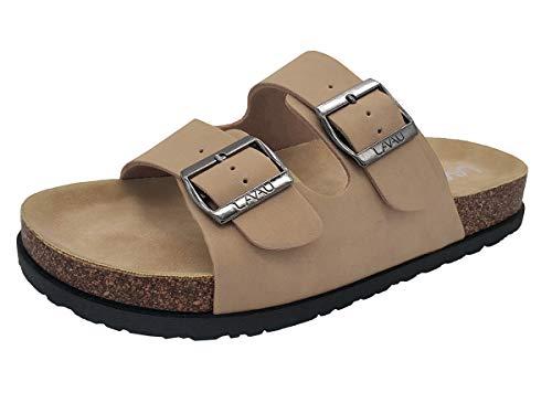 LAVAU Comfort Low Easy Slip On Sandal - Casual Cork Footbed Sandal Flat - Trendy Open Toe Slide Sandal Shoes SSBK01-W-huang-7 Nude