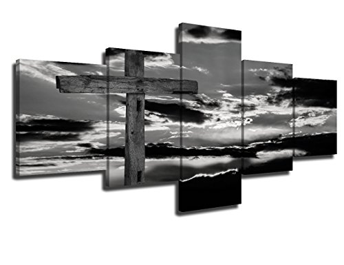 Art Work for Home Walls Black and White Paintings Jesus Pictures 5 Piece Canvas Wall Art Modern Artwork Home Decorations for Living Room Framed Fallery-wrapped Stretched Ready to Hang(50''Wx24''H)
