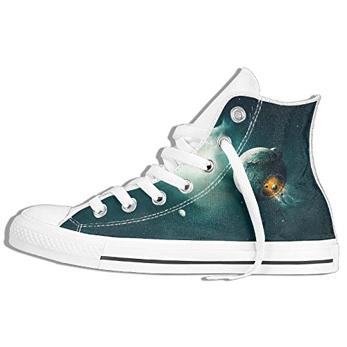 Classic High Top Sneakers Canvas Shoes Anti-Skid Space Universe Stars Casual Walking For Men Women White 87QmuqgHm
