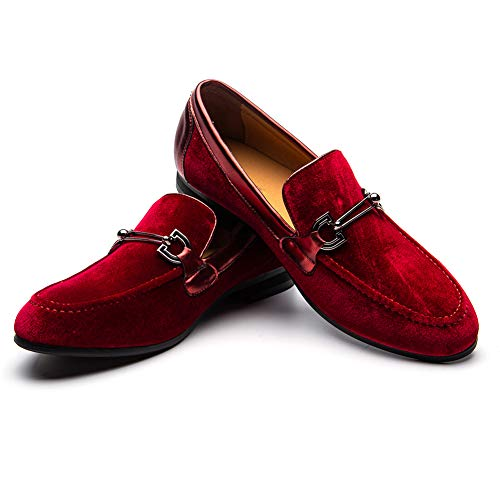 JITAI Men's Lindford Moc Toe Bit Slip-on Penny Loafer Party Shoes (9 M US, RED-03) (Penny Moc)