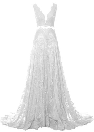 MACloth Women 2 Piece Long Prom Dress Straps V Neck Lace Formal Evening Gown Blanco