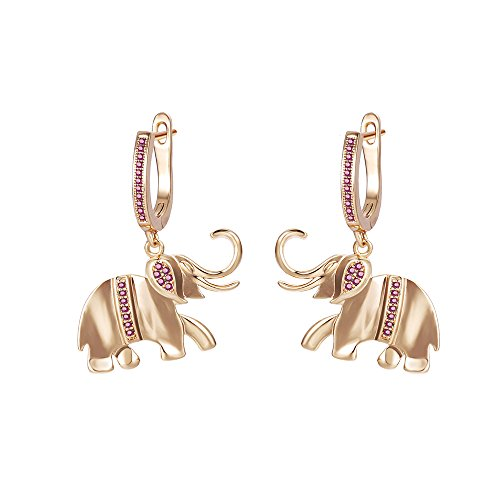 Xuping Jewelry Good Lucky Elephant Animal Hoop Earrings with Box Women Girl Valentine's Day Gifts (Red)