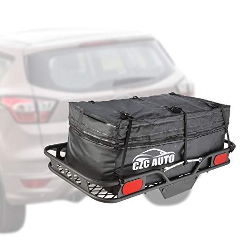 (CZC AUTO Expandable Hitch Cargo Carrier Bag 9.5 cu. ft Extends to 11.6 cu. ft, Waterproof/Rainproof/Weatherproof, for Car Truck SUV Vans' Hitch Trays Hitch Baskets, Safe Steady Durable Soft Black)