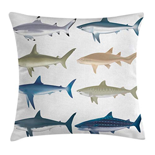 """Ambesonne Shark Throw Pillow Cushion Cover, Types of Angel Cow Hammerhead Sand Sharks Mammals Species Natural Nautical Graphic, Decorative Square Accent Pillow Case, 20"""" X 20"""", Blue Grey"""