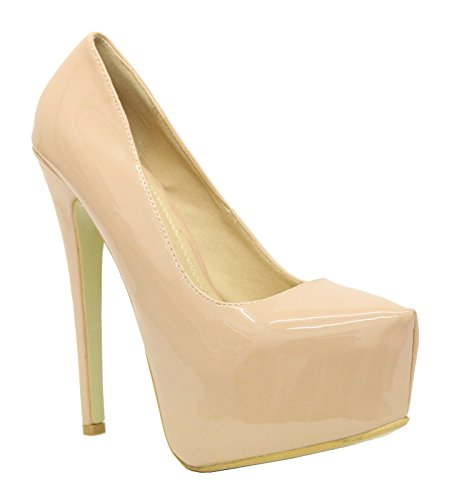 Ladies Womens Stiletto High Heels Pointy Concealed Platform Court Shoes Size 3-8 NUDE PATENT Zq4yWNa
