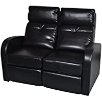 vidaXL Home Theater 2-Seat Recliner Black Artificial Leather Lounge Movie Cinema Seats