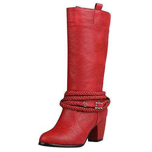 Vintage Mid High Heel Buckle Carolbar Women's Calf Red Boots gx5qwqpF