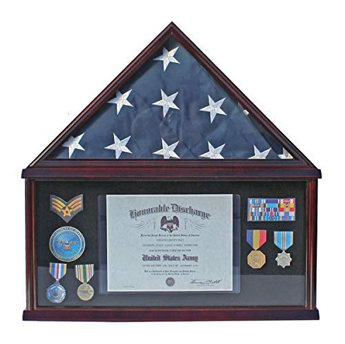 (LARGE Military Shadow Box Frame Memorial Burial Funeral Flag Display Case for 5' X 9.5' Flag, Mahogany Finish, Solid Wood (Black Felt - Mahogany)
