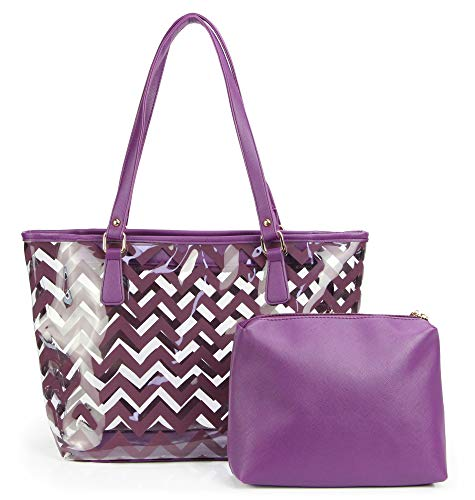 Clear Tote Bags with Full Chevron Stripe PVC Shoulder Handbag with Interior Pocket (Purple)