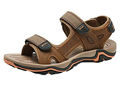 AGOWOO Women Leather Sandles Anti Slip Beach Hiking Sandals