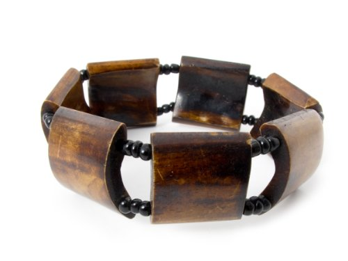 Maisha African Fair Trade Square up Cycled Camel Batiked Bone Stretchy Bracelet with Verigated Deep Hues