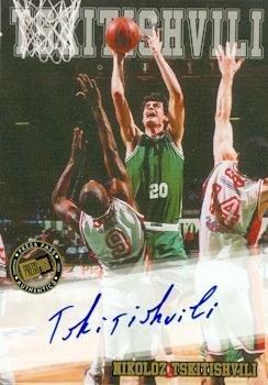 Soviet Press - Nikoloz Tskitishvili autographed Basketball Card (Soviet Union) 2002 Press Pass Rookie