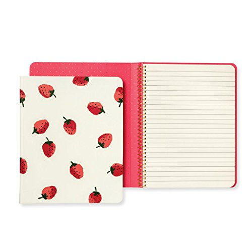 Kate Spade New York Womens Strawberries Concealed Spiral Notebook, Red/Green/White, One Size