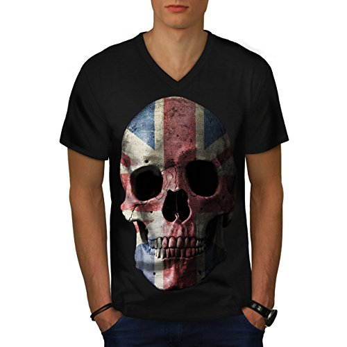 wellcoda British Flag Skull Mens V-Neck T-Shirt, Faded Graphic Print TeeBlack (British Organic Mens T-shirt)