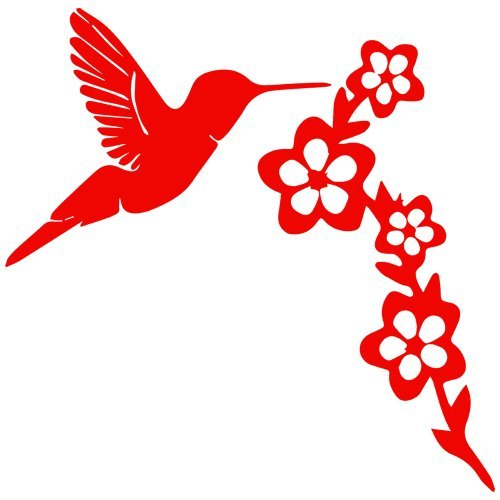 (Set of 3 - Hummingbird Gathering Nectar Decal Sticker Color: red, Peel and Stick Vinyl Sticker)