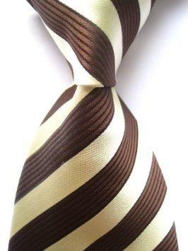 Allan Collection :New Classic Brown Beige Striped 100% Silk Necktie