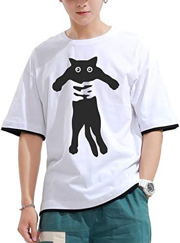 tシャツ メンズ 半袖 ゆったり 重ね着 風 ネコ 柄 おもしろ プリント おしゃれ カジュアル 快適 無地 コットン 大きい サイズ