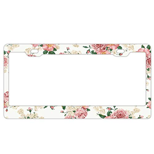 Floral License Plate Frame for Women, Stainless Steel License Plate Frames with Chrome Screw Caps - 2 Holes Car License Plate Cover for US Vehicles (Vintage Flowers Background)