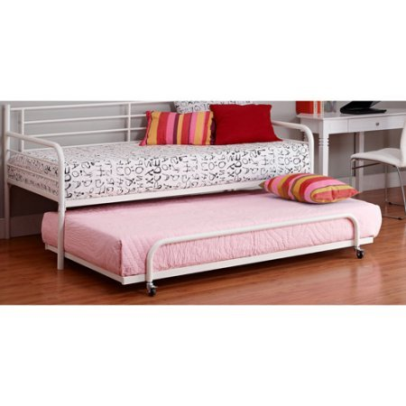 White Finish Twin Metal Daybed Trundle White Finish Trundle