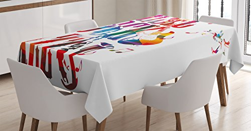 Musical Tablecloth by Ambesonne, Music Rock Jazz Lettering with Bass Guitar Saxophone Notes Harmony Illustration, Dining Room Kitchen Rectangular Table Cover, 60 W X 90 L Inches, Multicolor