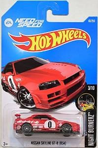 Hot Wheels, 2016 Night Burnerz, Need for Speed Nissan Skyline GT-R (R34) [Red] #83/250