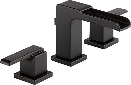 Delta Faucet Ara 2-Handle Widespread Bathroom Faucet with Metal Drain Assembly, Matte Black 3568LF-BLMPU ()