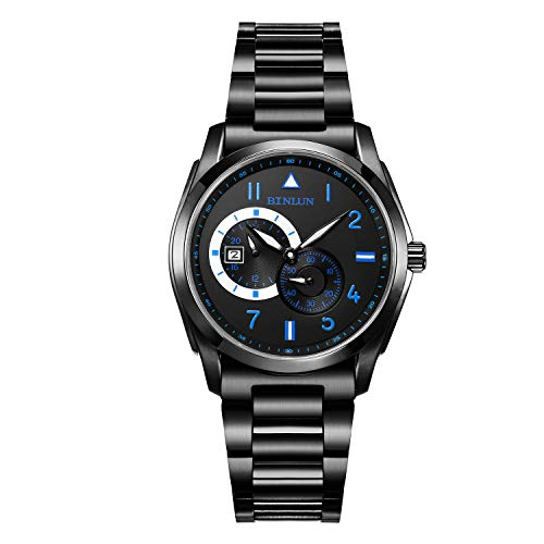 BINLUN Black Mens Automatic Watches Waterproof Military Stainless Steel Wrist Watch with Date