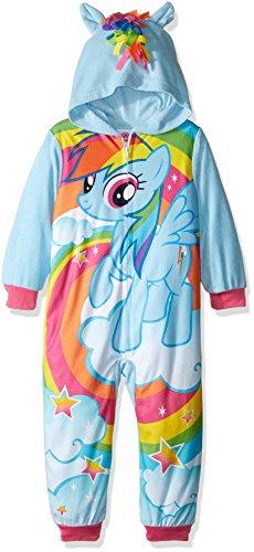 My Little Pony Girls' Big Girls' Rainbow Dash Hooded Fleece Blanket Sleeper, Blue, 8