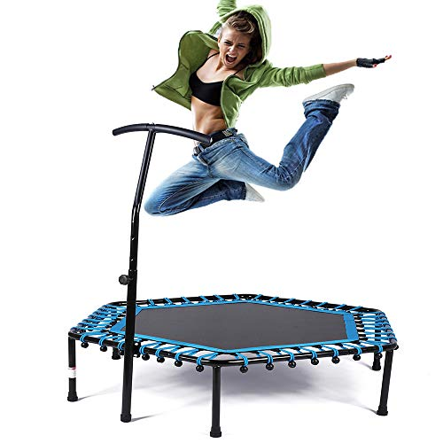 """Cheap Safly Zone Trampoline 50"""" Mini Indoor Kids Adults Trampolines with Handle Bungees Cord, Best Urban Cardio Workout Home Trainer"""