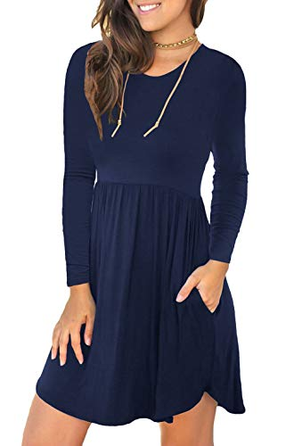 (Unbranded* Women's Long Sleeve Loose Plain Dresses Casual Short Dress with Pockets Navy Blue Medium)