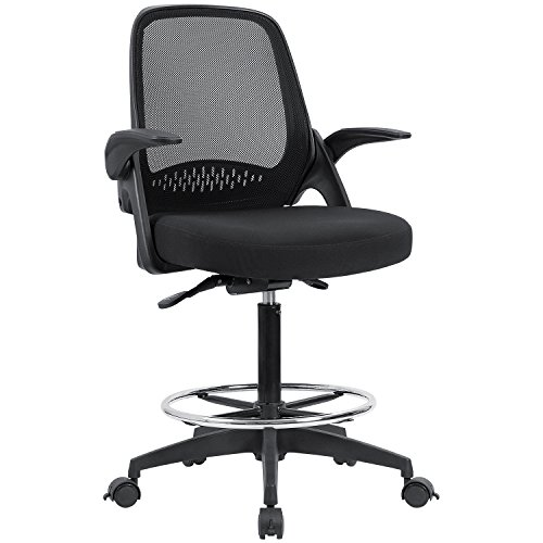 Flip Over Armrest - Devoko Drafting Chair with Flip-up Armrests Tall Office Chair Executive Computer Standing Desk Chair with Lockable Wheels and Adjustable Footrest Ring (Black)