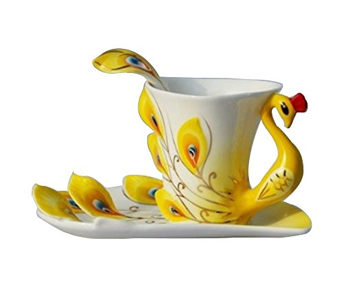 Leegoal Yellow Peacock Coffee Saucer