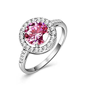 Round Ring Diamond Classic Fashion Female Zircon Wedding Pink Crystal Jewelry