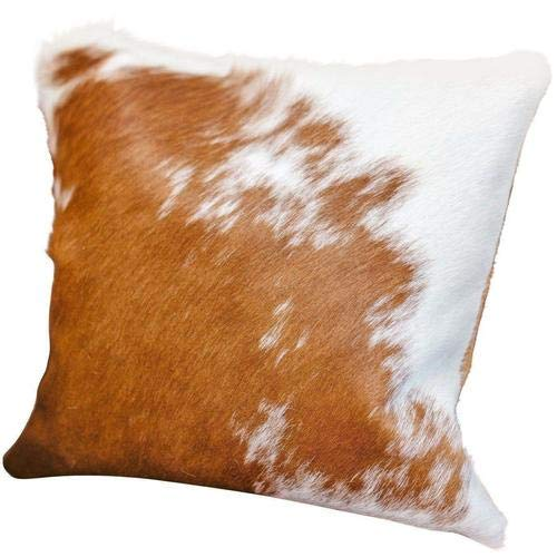 Artistic Embellishment Luxurious Cowhide Cushion Covers Brown and White Set of Two 16x16 | Hair on Leather Pillowcase