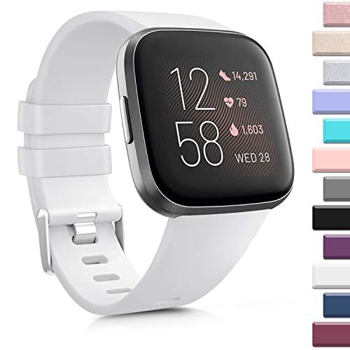 AK Sports Bands Compatible for Fitbit Versa, Soft Elastomer Multi-Colors Replacement Wristbands for Fitbit Versa Lite Watch (White, Large)