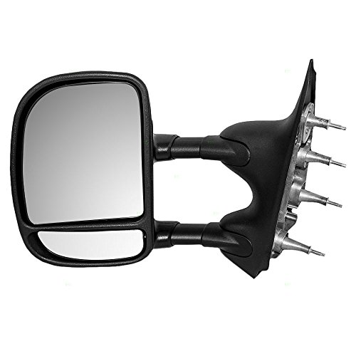 Manual Tow Telescopic Side View Mirror Dual Arms Double Swing Driver Replacement for 03-16 Ford E-Series Van ()