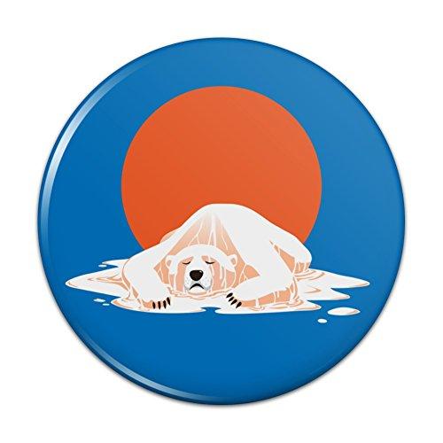 Global Warming Polar Bear Melting Pinback Button Pin Badge - 1