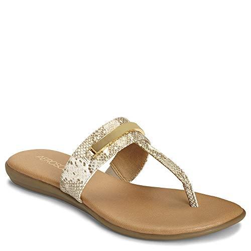 (Aerosoles - Women's On The Chlock Flip-Flop - Casual Open Toed Sandal with Memory Foam Footbed (6M - Bone Snake))