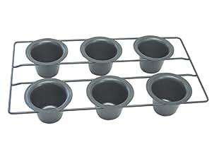 CybrTrayd R&M Non-Stick 6 Cup Popover Pan, Dark Grey