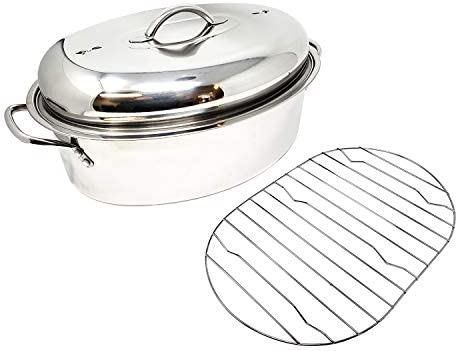 Stainless Steel Oval Lidded Roaster Pan Extra Large Lightweight With Induction Lid Wire Rack Multi-Purpose Oven Cookware High Dome Meat Joints Chicken Vegetables 9.5 Quart Capacity