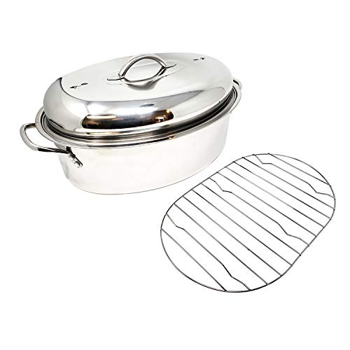 Pan Roaster Enamel (Stainless Steel Oval Lidded Roaster Pan Extra Large & Lightweight | With Induction Lid & Wire Rack | Multi-Purpose Oven Cookware High Dome | Meat Joints Chicken Vegetables 9.5 Quart Capacity)