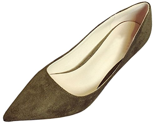 Harshiono Mujeres Suede Suede Tacones Stiletto Pumps Khaki Green