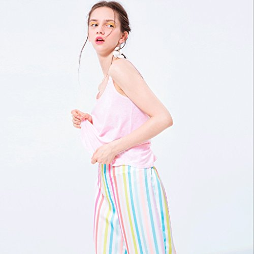 maglia gamba Il sveglia estate variopinta rotonda di dimensioni collo delle del Rosa maglia sveglio S vestito della Colore ansima della larga bande Rosa z87rZtP8