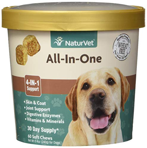 NaturVet - All-in-One Support - Helps Support Your Dog's Essential Needs & Overall Health - Digestion, Skin, Coat, Vitamins & Minerals, Joint Support - 60 Soft Chews
