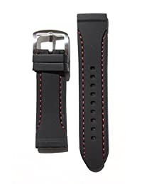 24mm Blackwith Red Stitching Panerai Style Rubber Silicone Watchband with S/S Buckle