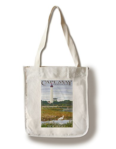 Lantern Press New Jersey Shore- Cape May Lighthouse (100% Cotton Tote Bag - Reusable)