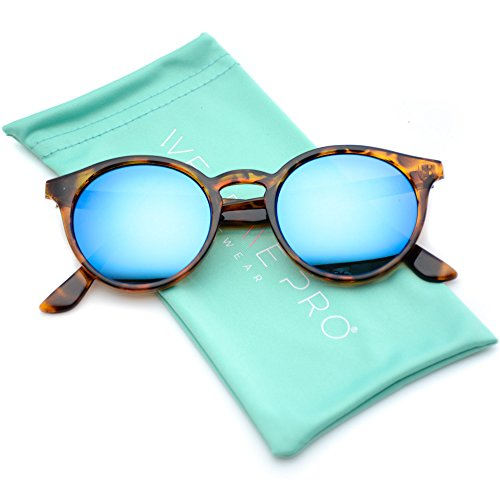 WearMe Pro - Classic Small Round Retro Sunglasses (Tortoise / Mirror Blue, 53)