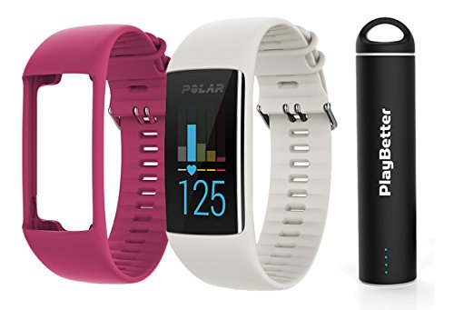 Polar A370 (White, Small) GPS Fitness Band BUNDLE with Extra Silicone Band (Pink) & PlayBetter Portable Power Bank (2200mAh) | On-Wrist Heart Rate, 24/7 Activity Tracker